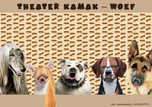 Poster van de voorstelling WOEF van theatergroep Kamak, speciaal voor mensen met een verstandelijke beperking