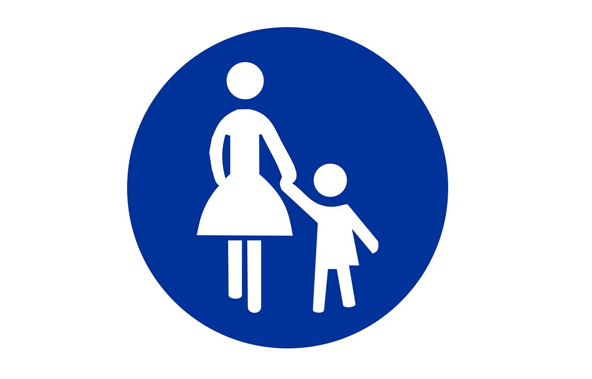 Icoon van moeder die met kind aan hand loopt