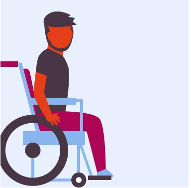 Jongeman met beperking in rolstoel