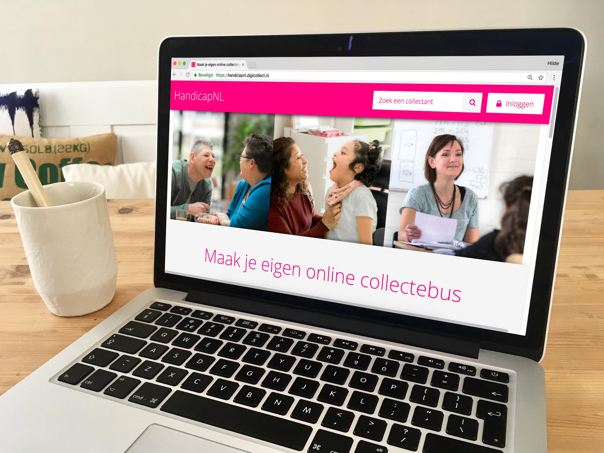 Laptop met daarop de digicollecte website van HandicapNL.