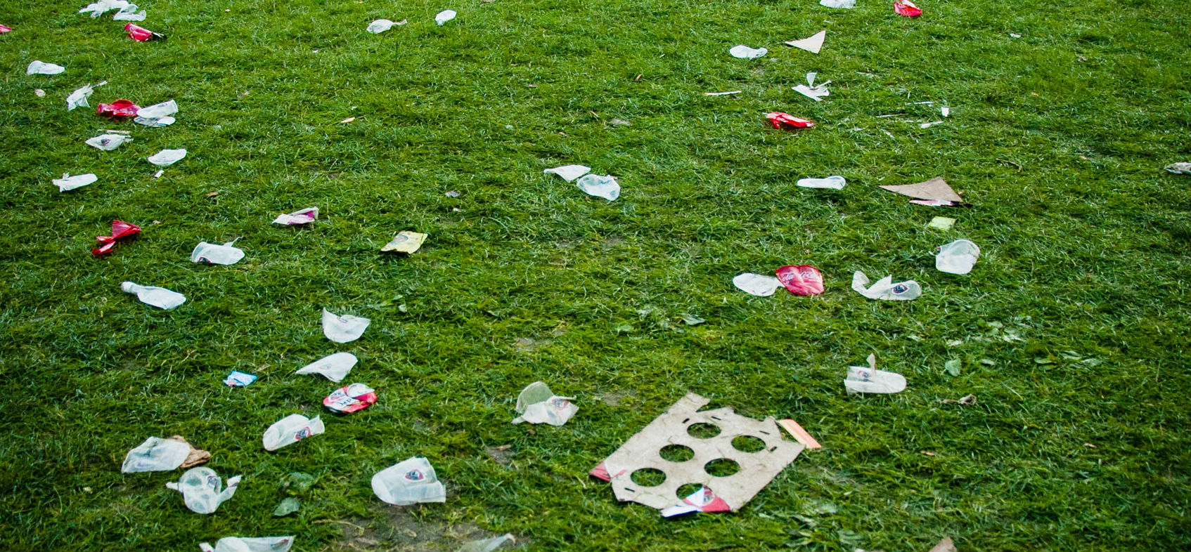 Een grasveld na een drukbezocht festival.