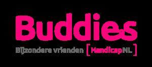 Buddies logo in Magenta en grijs.