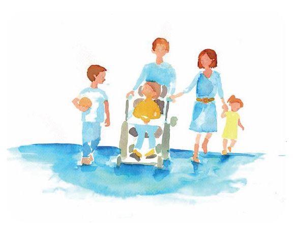 Gezin met zoontje in een rolstoel