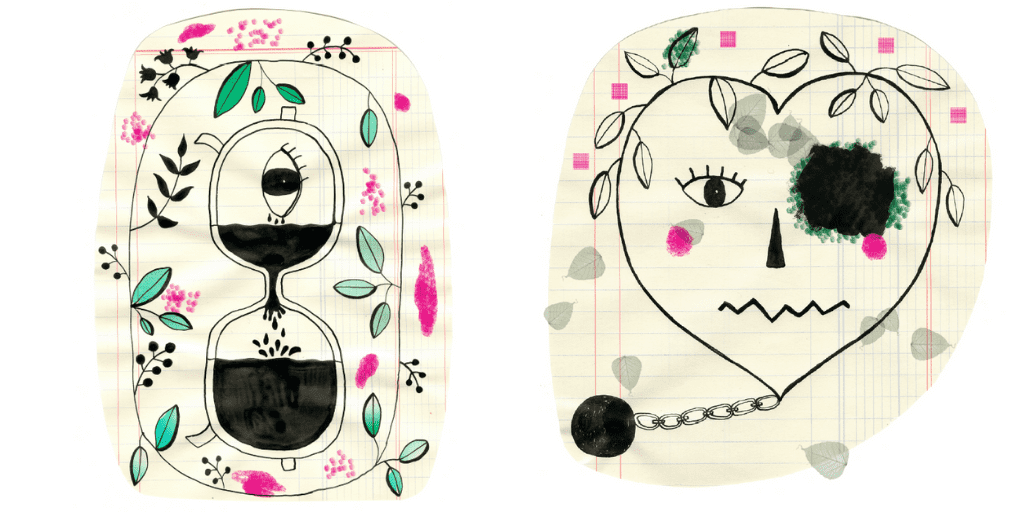 Tekeningen op kladpapier van gezichtjes met half zicht